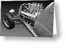 Ford Coupe Hot Rod Engine In Black And White Greeting Card