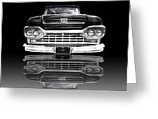 Ford F100 Truck Reflection On Black Greeting Card