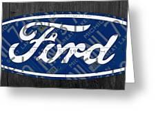 Ford Motor Company Retro Logo License Plate Art Greeting Card