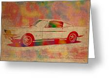 Ford Mustang Watercolor Portrait On Worn Distressed Canvas Greeting Card