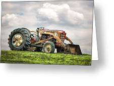 Ford Powermaster Tractor On A Hill Greeting Card by Gary Heller