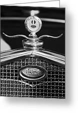 Ford Winged Hood Ornament Black And White Greeting Card
