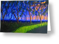 Forest At Sunset Greeting Card by Haleema Nuredeen
