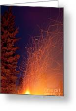 Forest Fire Danger Hot Spark Trails From Campfire Greeting Card
