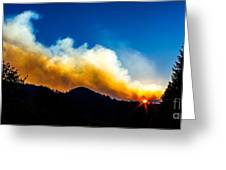 Forest Fire Sunset Greeting Card