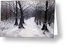 Forest Path In Winter Greeting Card