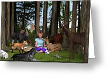 Forest Rendezvous Greeting Card by Jennifer Schwab