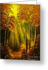 Forest Sunrays- Original Sold -buy Giclee Print Nr 38 Of Limited Edition Of 40 Prints  Greeting Card