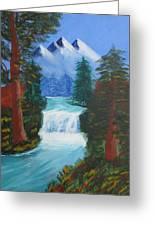Forest Waterfall Greeting Card by Haleema Nuredeen