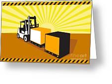 Forklift Truck Materials Handling Retro Greeting Card