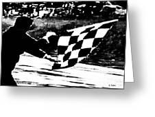 Formula 1 Vintage Checkered Flag Greeting Card
