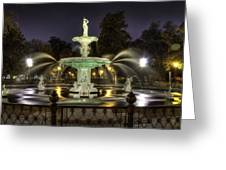 Forsyth Fountain At Night Greeting Card
