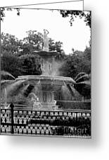 Forsyth Park Fountain - Black And White 2x3 Greeting Card