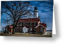 Fort Gratiot Lighthouse And Buildings With Clouds Greeting Card