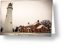 Fort Gratiot Lighthouse In Winter Greeting Card