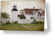 Fort Point Lighthouse Greeting Card by Joan Carroll