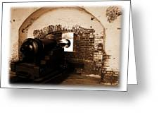 Fort Pulaski Canon Sepia Greeting Card