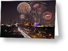 Fort Worth Skyline At Night Fireworks Color Evening Ft. Worth Texas Greeting Card