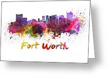 Fort Worth Skyline In Watercolor Greeting Card