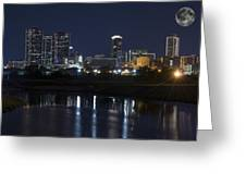Fort Worth Skyline Super Moon Greeting Card