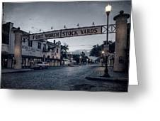 Fort Worth Stockyards Bw Greeting Card