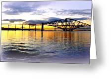 Forth Rail Bridge At Sunset Greeting Card