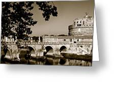 Fortress And Bridge In Sepia Greeting Card