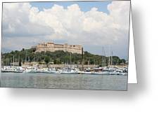 Fortress And Harbor - Cote D'azur Greeting Card