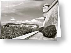 Fortress Overlooking Palma De Majorca Greeting Card