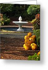 Fountain And Pumpkins At The Elizabethan Gardens Greeting Card