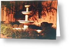 Church Fountain Night Shadows Greeting Card