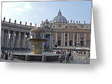 Fountain And St. Peters - Vatican City Greeting Card