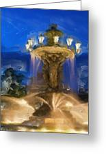 Fountain At Dusk Greeting Card