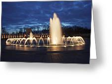 Fountain At Night World War II Memorial Washington Dc Greeting Card