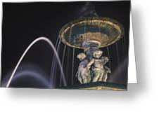 Fountain In Rossio Square By Night Greeting Card