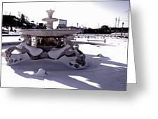 Fountain In The Snow Greeting Card