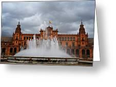 Fountain On Plaza De Espana. Seville Greeting Card by Jenny Rainbow