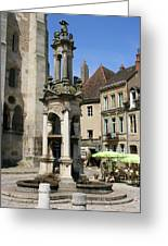 Fountain On The Market Place Autun Greeting Card