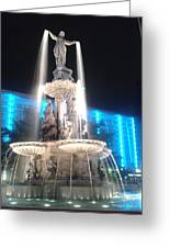 Fountain Square At Night Greeting Card