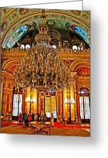 Four And One-half Ton Crystal Chandelier In Ceremonial Hall In Dolmabache Palace In Istanbul-turkey  Greeting Card