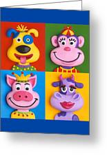 Four Animal Faces Greeting Card