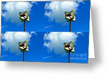 Four Bird Houses Greeting Card