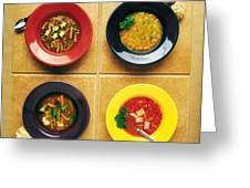 Four Dishes Of Different Food Greeting Card