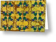 Four Fancy Fiddles Tiled On Gold Batik Greeting Card