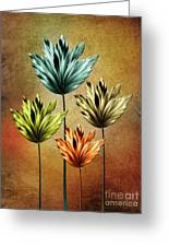 Four Fractal Flower Greeting Card