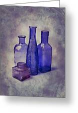 Four Glass Bottles Greeting Card