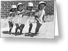 Four Little Girls Having Fun Greeting Card