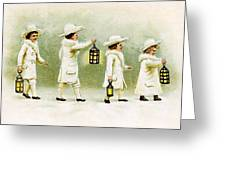 Four Little Girls Greeting Card