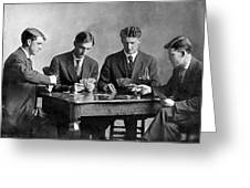 Four Men Playing Cards Greeting Card