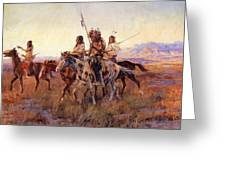 Four Mounted Indians Greeting Card